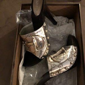 Silver Gucci Clogs Size 7 1/2